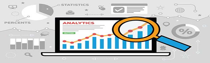 An Illustration Of A Laptop With Analytics And Statistics With A Magnifying Glass Inspecting The Graph. Surrounded By Analtyic Related Icons.